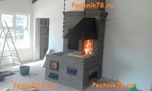 печь мангал из кирпича с кптильней и плитой под казан, установлена в поселке Воейково Ленинградской области