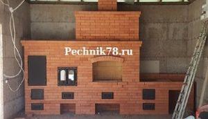 Кладка печных комплексов барбекю с печкой под казан + мангал и коптильня, сложит недорого мастер печник в СПб и Ленинградской области.